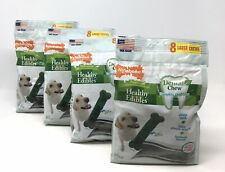 (4) Bags Nylabone Healthy Edibles Green Dental Chews x 8 Ea.Large-Dogs To 30 lbs
