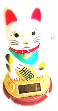 Glückskatze Winkekatze Feng Shui weiß ca 11 cm Solar