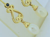 E056- Genuine 9K 9ct SOLID Gold NATURAL Sapphire & Pearl Drop Scroll Earrings