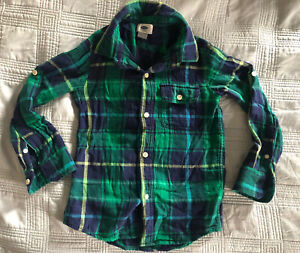Old Navy Boys Green Blue Plaid Black Button Up Tab Sleeve Shirt (Size XS (5))