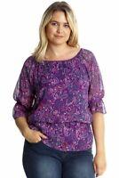 Nouvelle Paisley Print Chiffon Top Purple Size UK 22/24 DH093 AA 11