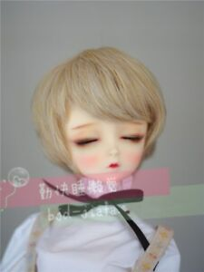 "BJD Doll Hair Wig 8-9""1/3 SD DZ DOD LUTS mixed blonde short wavy curly hair wig"