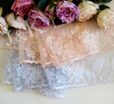 22 cm width Pale Grey Blue/ Light Salmon Embroidery mesh Lace Trim