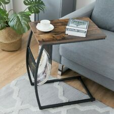 Unique C-Shaped End Side Table With Adjustable Feet And Convenient Side Pocket