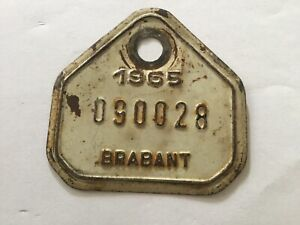 Vintage Metal Paint Belgian Bicycle License Plate 1965 Brabant.