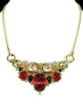 1949 CROWN TRIFARI RUBY RED CABOCHON MOGHUL INDIA SCHEHERAZADE NECKLACE PENDANT
