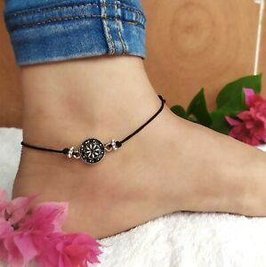 Anklet for women girl with Oxidized silver Black thread adjustable knot