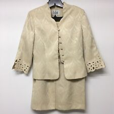 Le Suit 2 Pc Skirt Suit Ivory Brocade 8 Mother of Bride Cut Out Lace Sleeve