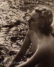 1940 Original FEMALE NUDE Outdoors River England Photo Art Deco By JOHN EVERARD