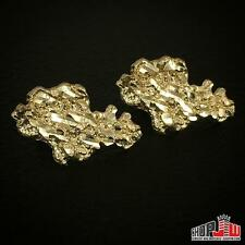 10K Yellow Gold Nugget Style Earrings Cluster Diamond Cut Mens Large Big Size