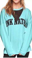 Victoria Secret PINK Nation Blue Campus Crew Mesh Crewneck Sweatshirt Small NWT