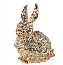 NEW IN BOX Bunny Rabbit Trinket box Sparkle rhinestones golden Z Gallerie