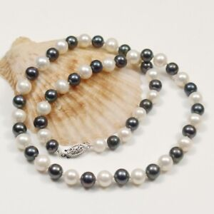 """5 style natural cultured fresh water pearl 8-9mm white black pink necklace 17 """""""