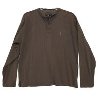 Ralph Lauren Chaps Vintage Heavy Textured Henley Shirt Mens Size L Large Brown