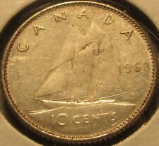 1968 Canadian Dime 10 Cent 50% Silver Coin - Canada