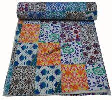 Indian Vintage Cotton Kantha Patchwork Handmade Quilt Blanket Queen Size Throw