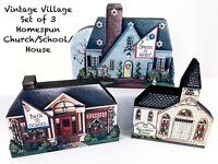 Village Church School Houses Lot Vtg Wooden Shelf Sitters