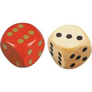 Extra Large Dice Giant Coloured Wooden Die Red Blue Green Natural (1 or 4)