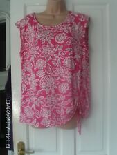 PINK AND WHITE SLEEVELESS TOP, SIZE 16