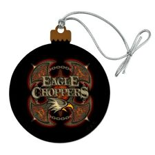 Eagle Choppers Motorcycle Biker Club Wood Christmas Tree Holiday Ornament