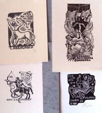 ex-libris bookplate Centaur Archer art Usolkin Besedin Mitsuk Sivak lot of 4