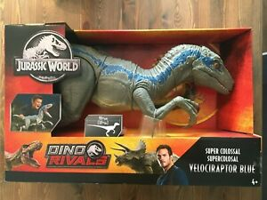 Jurassic World The Rivals Super Colossal Velociraptor Blue Figure Raptor Mattel