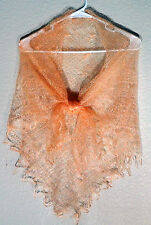 RUSSIAN ORENBURG LACE KNITTED SHAWL SCARF (PASHMINA) COLOR PEACH