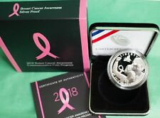 2018 Proof Breast Cancer Awareness 90% Silver Dollar US Mint $1 Coin Box and COA