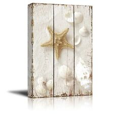 Wall26 - Star Fish and Sea Shells on the Sand - Canvas Art Home Decor - 12x18