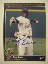 GREG BURNS signed 2007 GREENSBORO baseball card AUTO Autograph POMONA WALNUT CA