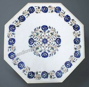 White Marble Inlay Table Top with Elegant Pattern Patio Coffee Table 24 Inches