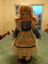 Vintage Porcelain Doll White Bisque Face Blonde Hair Blue Eyes Floral Dress