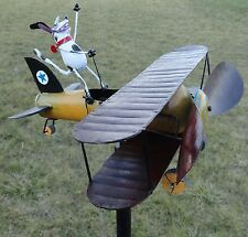Biplane Whirligig Metal Airplane Wind Spinner Kinetic Sculpture