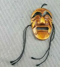 Hand Carved Art Wall Hanging  Mask Wooden Japanese  5 3/8 inch