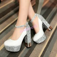 Womens Glitter Ankle Strap Vogue Platform High Chunky Heel Pumps Shoes Bling Hot