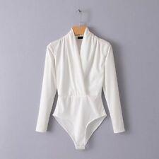 Lady Wrap Blouse Shirt Bodysuit Jumpsuit Casual Slim Top V Neck Long Sleeve Sexy