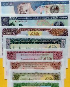 Laos 5 10 20 50 100 500 1000 2000 Riels 8Pcs SET COLOURFUL UNCIRCULATED NOTES