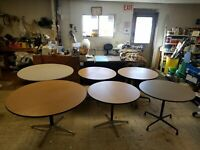 6-Eames Office Herman Miller  Round Wood Tables, 2-4ft, 4-3ft