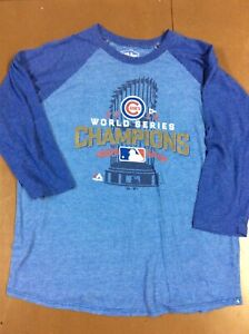 Majestic Threads Mens XL 2016 Chicago Cubs World Series 3/4 Sleeve T-Shirt