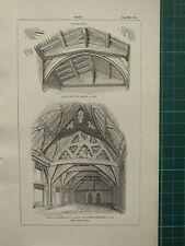 1850 ANTIQUE GOTHIC ARCHITECTURE PRINT ~ ROOF DECORATED KIDDINGTON MALVERN