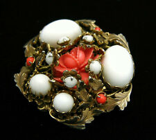 Coral Celluloid Rose Brooch Vintage Pin White Glass Cabs Elaborate