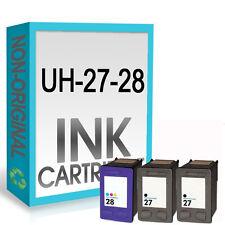 3 Reman Ink Cartridge For 27 28 Deskjet 3645 3650 3740 3744 3745 3840 3845