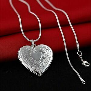 925 Sterling Silver Women's Solid Italian Snake Chain Heart Shape Necklace