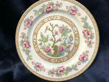 "NORITAKE CARLETON SALAD PLATE 7 5/8"" PINK & BLUE FLOWERS TAN GREEK KEY GOLD TRIM"
