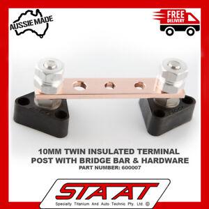 TITANIUM electrical junction block Terminal Posts X 2 and copper bridge bar auto
