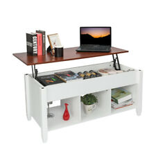 Modern Lift Top Coffee Table with Hidden Compartment & Storage Shelf Living Room