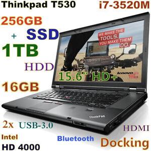 Lenovo Thinkpad T530 i7-2.9GHz (256GB SSD + 1TB) DVDRW 16GB 15.6 + Docking