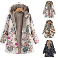 ZANZEA Women Plus Size Floral Coat Parka Jumper Tunic Cardigan Fleece Jacket HOT