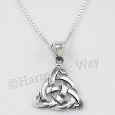 "CELTIC IRISH TRINITY Knot Triquetra Pendant 18"" Necklace 925 Sterling Silver"