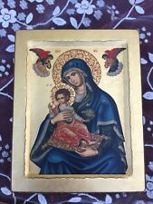 CERTIFIED HAND MADE SERIGRAPHY ICON ART ANGELS BABY ORTHODOX BYZANTINE Vintage